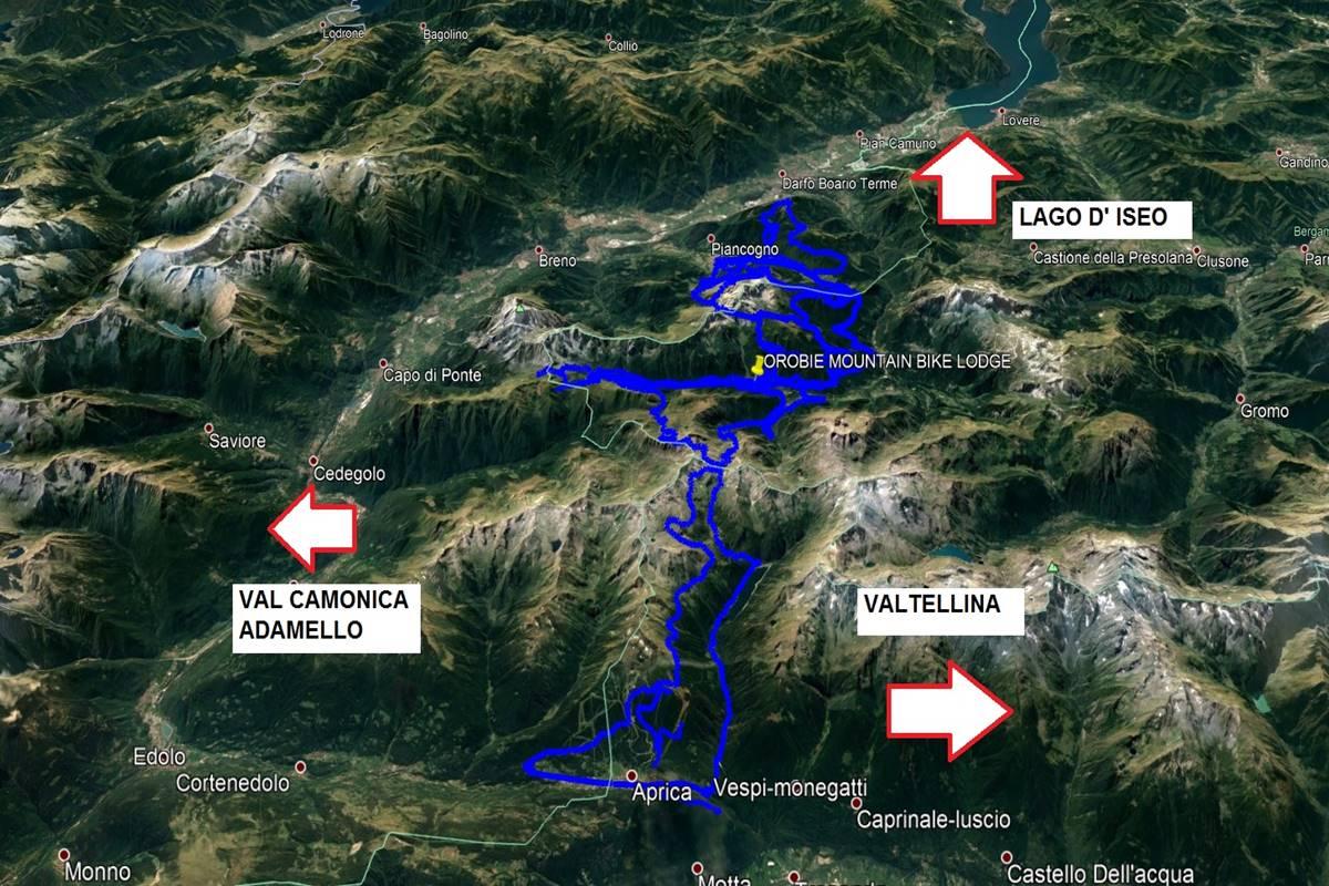 Mappa Percorsi Orobie Mountain Bike Lodge